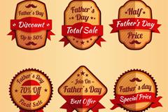 6款创意父亲节促销标签矢量素材