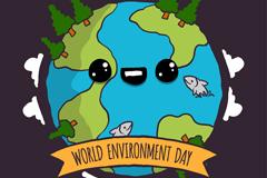卡通大眼睛地球世界环境日海报矢量素材