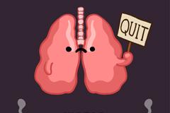 卡通肺部禁烟海报矢量素材