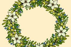 彩绘绿色花环矢量素材