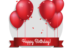 红色气球生日贺卡矢量素材