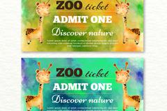 2款水彩绘长颈鹿动物园门票矢量图