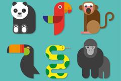 6款卡通扁平热带动物矢量素材