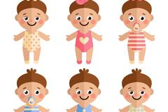 6款可爱婴儿设计矢量素材