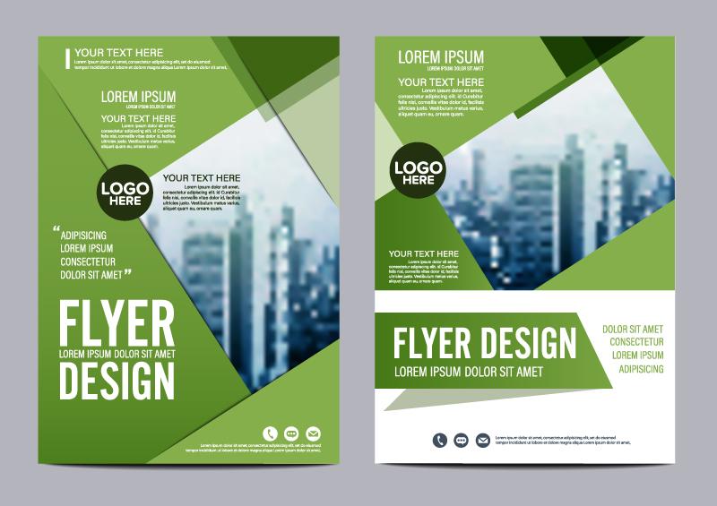 Purity Cookbook Green Cover : 时尚绿色建筑商务宣传单矢量素材 广告设计 懒人图库