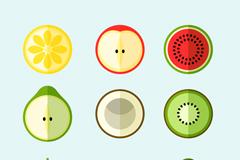 9款扁平化水果切片矢量素材