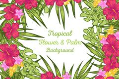 彩色热带花卉和棕榈树叶矢量图
