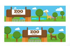 3款卡通动物园banner矢量素材