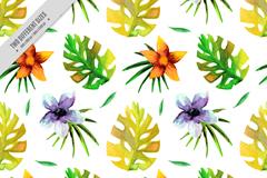 热带花卉和棕榈树叶无缝背景矢量图