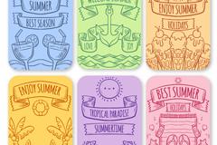 6款彩绘夏季元素标签矢量素材