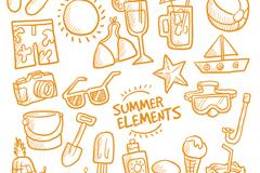 27款橙色手绘夏季元素矢量素材