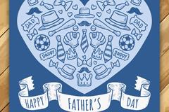 蓝色父亲节卡片元素矢量素材