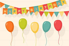 12款彩色生日派对装饰物矢量图