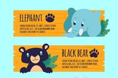 3款可爱动物头像banner矢量素材