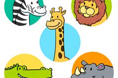 5款可爱野生动物头像矢量素材