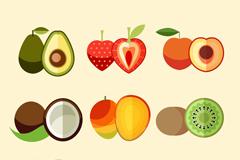 9款扁平化水果和切片矢量图