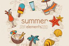 9款彩色夏季度假元素矢量素材