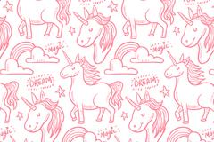 粉色魔法独角兽无缝背景矢量素材
