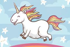 彩虹上奔跑的独角兽矢量素材