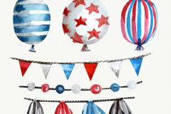 6款水彩绘节日装饰物矢量图