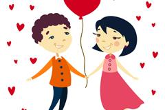 卡通情侣与爱心气球矢量素材
