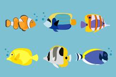 9种卡通海洋鱼类矢量素材