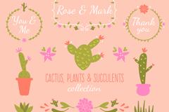 12款彩绘婚礼植物和花环矢量图