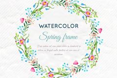 水彩绘顺时针春季花环矢量素材