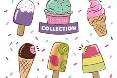 6款彩绘冰淇淋矢量素材