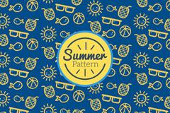 可爱夏季元素无缝背景矢量图