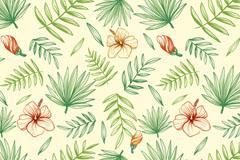 彩绘扶桑花和棕榈叶无缝背景矢量图