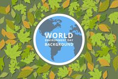 世界环境日绿色树叶贺卡矢量素材