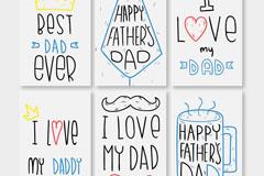 6款彩绘父亲节祝福卡片矢量图