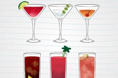 6款彩绘饮品设计矢量素材