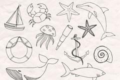 14款手绘航海元素矢量素材