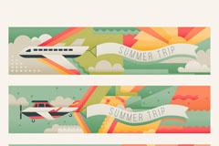 3款复古夏季旅行banner矢量素材