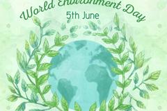 水彩绘地球世界环境日贺卡矢量图