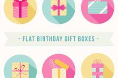 6款扁平化生日礼物图标矢量图