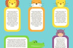 5款卡通动物框架设计矢量素材