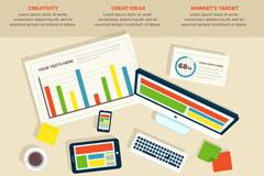 创意商务桌面信息图矢量素材