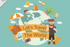 环球旅行的背包男子和地球矢量素材