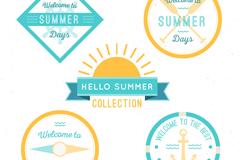 5款清新夏季元素标签矢量素材