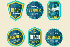 6款蓝色夏季度假标签矢量素材