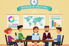 5个创意商务会议人物矢量素材