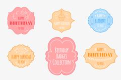 9款彩色生日快乐标签矢量素材