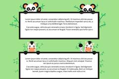 4款可爱动物文字框架矢量素材