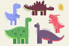 5款彩色恐龙和恐龙蛋设计矢量素材