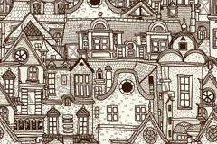 复古风格建筑群插画矢量素材