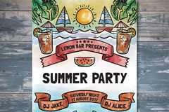 彩绘夏季海边派对海报矢量素材