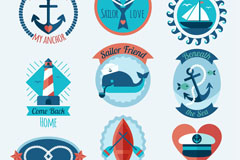 9款扁平化航海标签矢量素材
